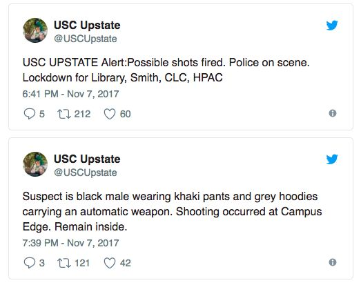 There is said to be an active shooter at the University of South Carolina. He is believed to be on foot amid reports he is heading towards the university grounds. Police have since raced to the scene to apprehend the gunman. Officials have claimed the suspect is a black male wearing khaki...