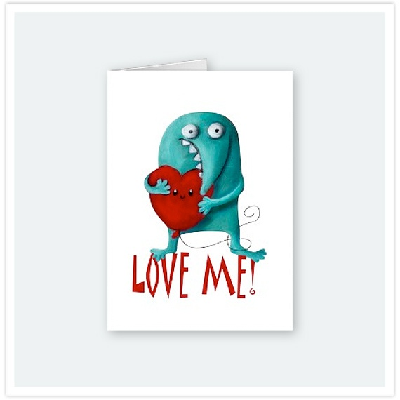 LOVE ME! Cute Guy Greeting Card by Party Monster