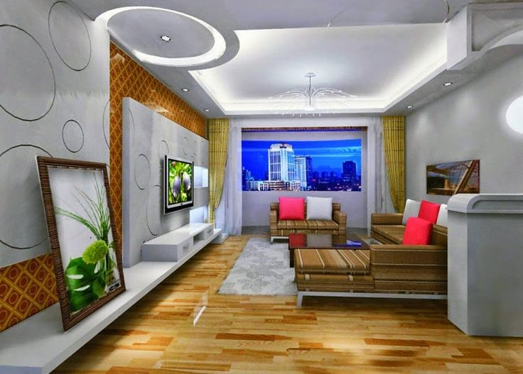 5 Gypsum False Ceiling Designs With LED Ceiling Lights For Living Room Part 83