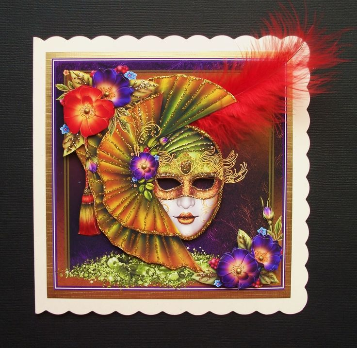 Hi Everyone I thought I would share with you 3 cards I made last night, I just love masks especially the ones with elaborate colours and sticking with that theme I used digital designs from theCr…