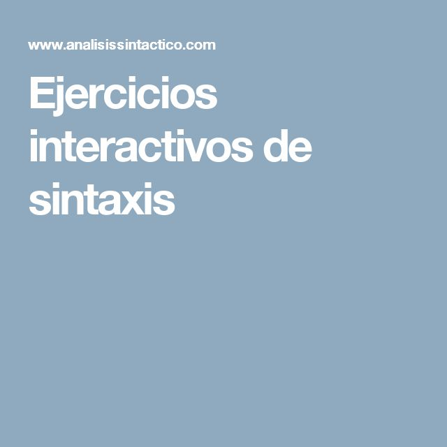 Ejercicios interactivos de sintaxis