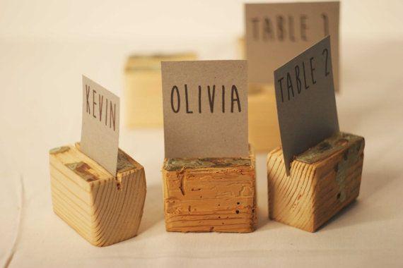 20 piezas rústico lugar los titulares, titulares de la tarjeta de boda, titulares de la tarjeta de nombre, porta mesa boda rústica, madera tarjeteros