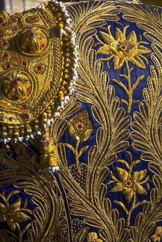 A detail of the blue and gold embroidery on the back of a matador's jacket (Chinchon, Spain).
