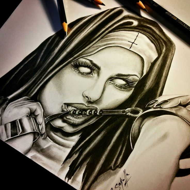 Devious Nun Drawing - Cassandra Sekulla by CassandraWilson
