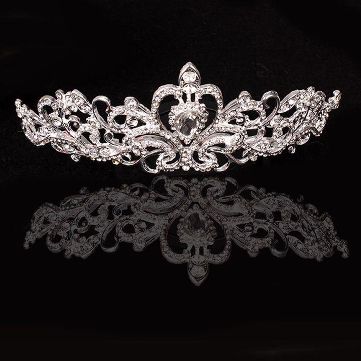 Stunning Bridal Princess Austrian Crystal Wedding Hair Tiara Crown Veil Headband