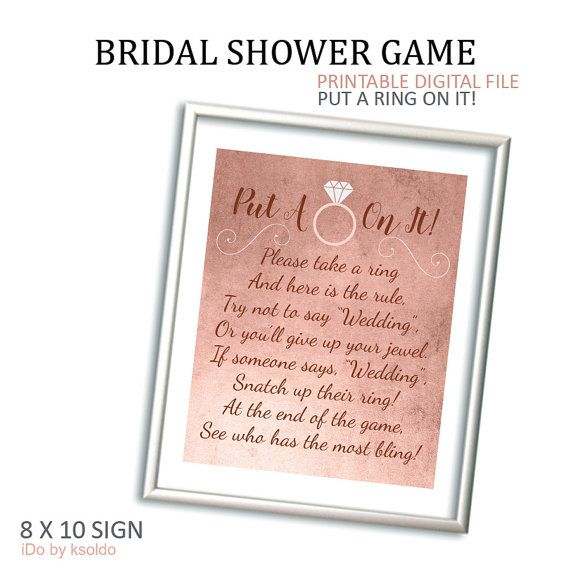 This is an image of Clever Put a Ring on It Bridal Shower Game Free Printable