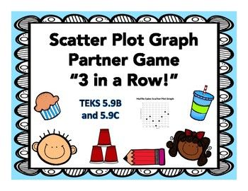 Practice your knowledge of Scatter Plots by using this partner game! This game is amazing and is so easy to put into a station or to have students complete during whole group or enrichment! The game comes with 6 different scatter plot graphs and 6 questions for each graph, which is 36 questions!