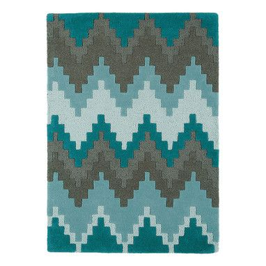 Chevron Mix Teal Wool Rug | Sizes Available | Spectrum Rugs @ The Home
