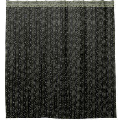 Black & Olive Green Tribal Pattern Shower Curtain - pattern sample design template diy cyo customize