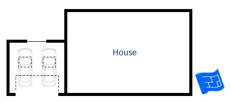 Here's a garage floor plan to the side of the house with forward facing access. Click through to read more on garage design and home design.