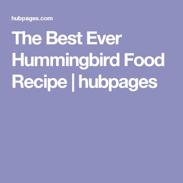 The Best Ever Hummingbird Food Recipe | hubpages