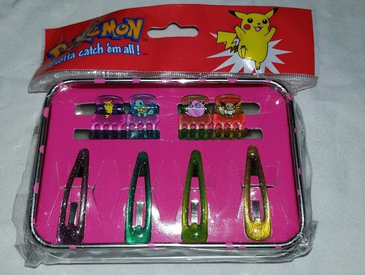 Vintage Nintendo Pokemon Tin set w/ Hair Clips Squirtle Pikachu Jigglypuff