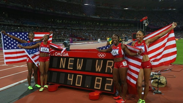 The USA tonight set a new world record as they claimedgoldin the women's 4 x 100m Relay.