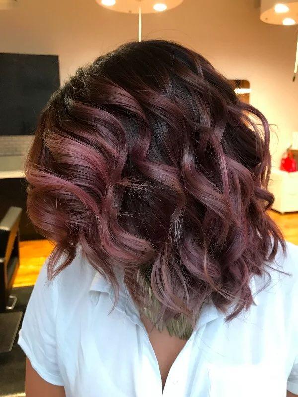 Pink balayage, short hair, curly hair