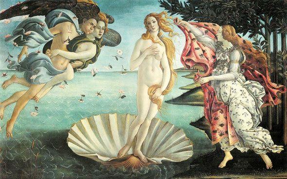 Botticelli. El Nacimiento de Venus. Galería de los Ufizzi