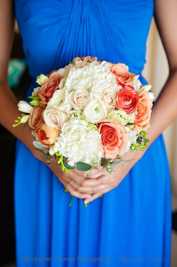 Sunshine Coast Wedding Photographer, white and orange wedding flowers, blue bridesmaid dress, Christopher Thomas Photography