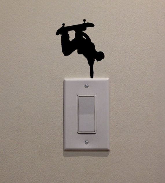 Skateboarder Hand Stand Inverted on Light Switch by DecalPhanatics