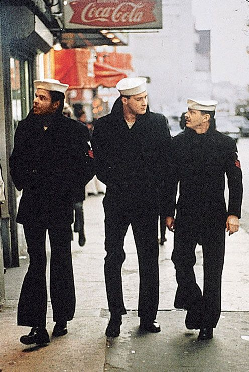 THE LAST DETAIL (1973) - Shore leave for U.S. sailors Otis Young, Randy Quaid & Jack Nicholson - Screenplay by Robert Towne from the novel by Darryl Ponicsan - Directed by Hal Ashby - Columbia Pictures - Movie Still.