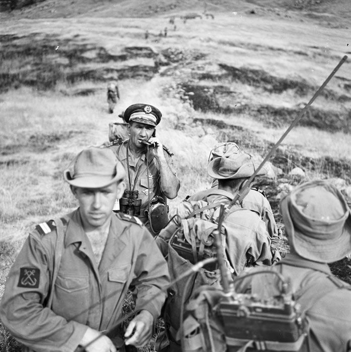 French; Capitaine de Fregate(Commander) Sanguinetti, commander of the Demi-brigade of Fusilier Marins on the radio during Operation Jumelles, august '59