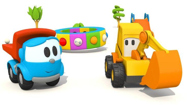 L'escavatore Max e il camion Leo giocano con la giostra - Gli sport   Ca...