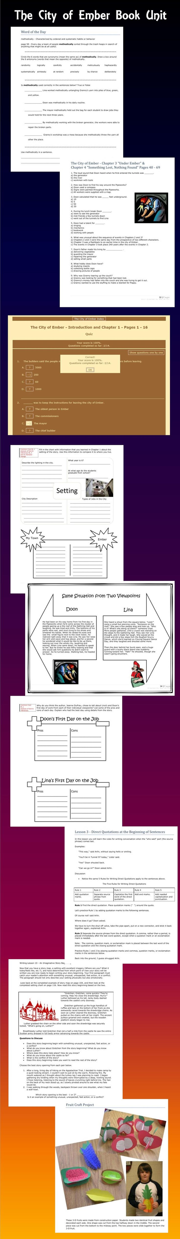 A Teacher's Resource Guide To Use With The City Of Ember Contains Lessons  Aligned To The