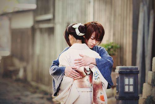 """""""ima made arigatou soshite sayonara"""" Kenshin to Kaoru. Rurouni Kenshin: Kyoto Inferno. Takeru Satoh as Kenshin Himura, Emi Takei as Kaoru Kamiya."""