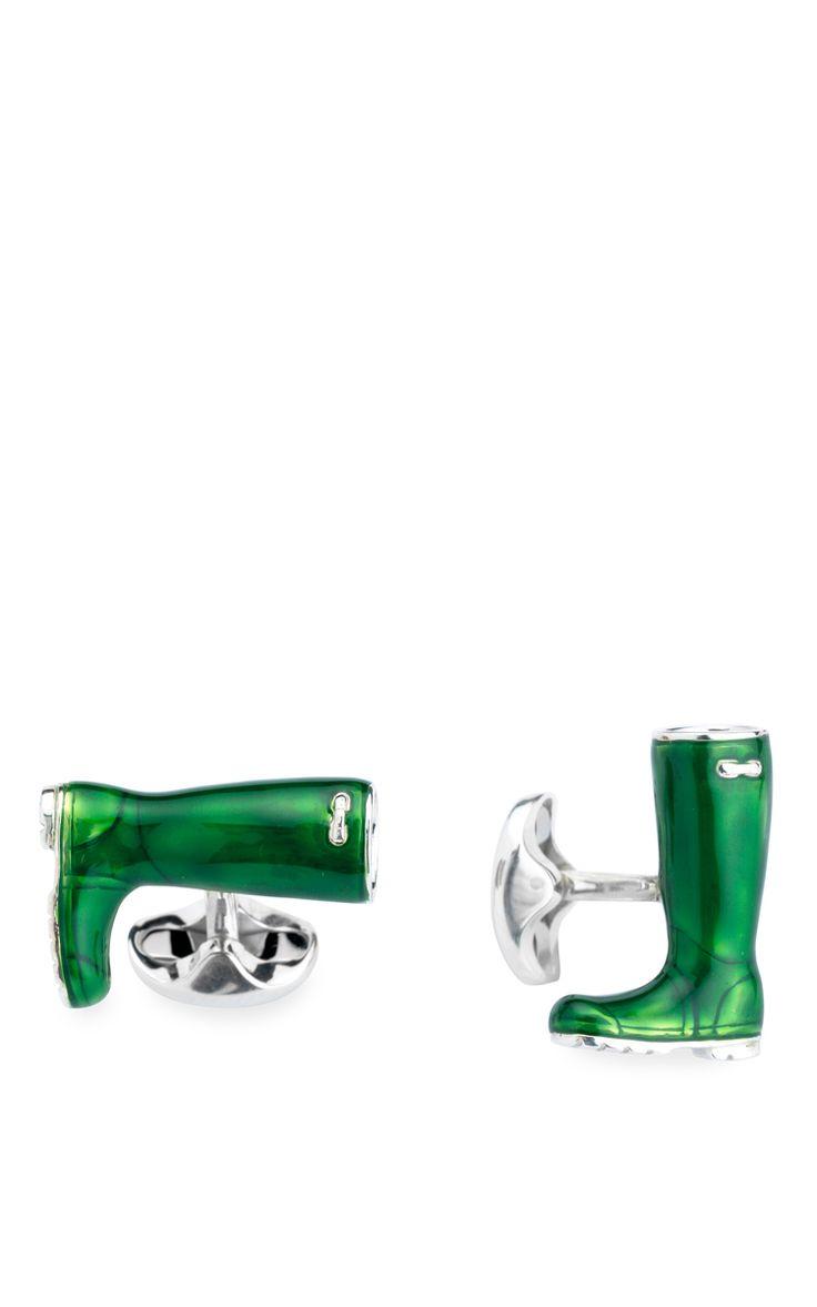 Silver Wellington Boot Cufflinks by DEAKIN & FRANCIS Now Available on Moda Operandi