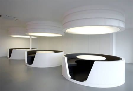 Interesting futuristic look for open eating areas, maybe.