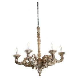 "Hand-carved mango wood chandelier with scrolling acanthus leaf detail.  Product: ChandelierConstruction Material: Mango woodColor: Natural and whiteFeatures: Hand-carvedAccommodates: (5) 100 Watt bulbs - not includedDimensions: Small: 24"" H x 23"" Diameter Large: 29.5"" H x 33.5"" Diameter"