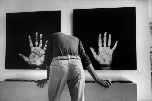 "Pompidou Centre, National Museum of Modern Art, Paris 1977 by Martine Franck   (""Paris - New York"" exhibition - photographs from the ""Handshow "" by the French artist Robert Filliou and the US artist Scott Hyde showing the hands of 24 artists.)"