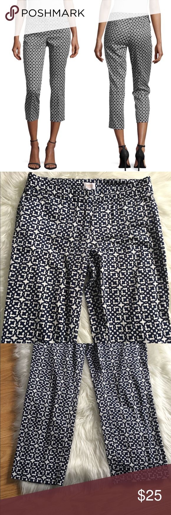 Laundry Shelli Segal Blue Geometric Pants Excellent condition! 16 inch waist 24 inseam 35 inch hip. NO TRADES PLEASE Laundry by Shelli Segal Pants Ankle & Cropped