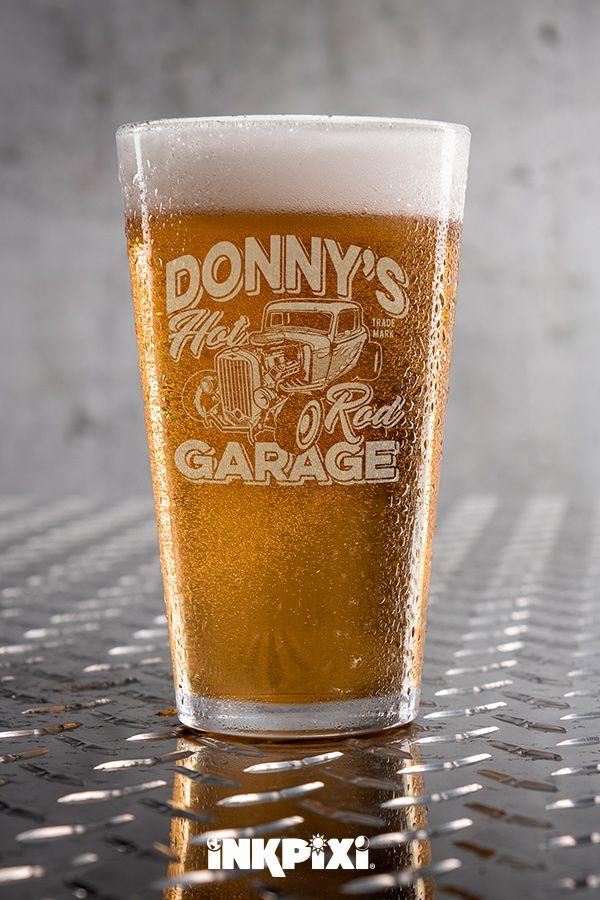Hot Rod Garage Clear Pint Glass Engraved Single Custom Pint