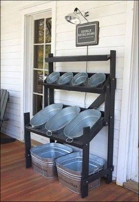 Metal zinc wash tub, buckets Bulk Bin Display for fruits, vegetables, hardware, small craft pieces, toys; by fixtures close up; Upcycle, Recycle, Salvage, diy, thrift, flea, repurpose, refashion!  For vintage ideas and goods shop at Estate ReSale & ReDesi
