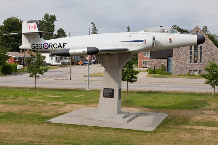 North Bay, Ontario. RCAF CF-100 jet fighter 626 on display in North Bay.