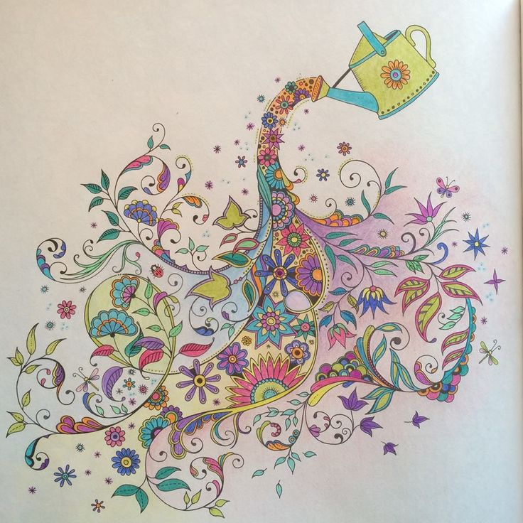 Johanna Basford Watering Can Secret Garden Coloring