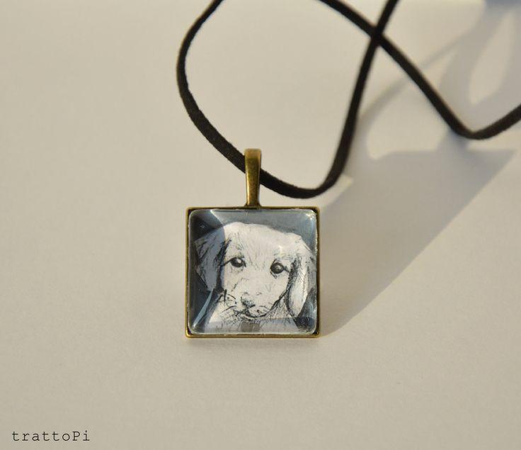 """collana pendaglio con illustrazione """"cucciolo"""" : Collane di trattopi"""