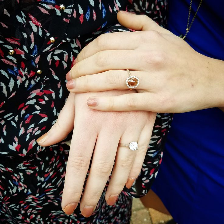 """Ladies, remeber not to let your friends shop for engagement rings alone. Jessi went with a timeless single stone solitaire while her BFF Keri went with a stunning halo from our """"Old World"""" diamond collection. Somewhere out there are two very lucky men. Congratulations to you both & thank you so much for choosing us for your rings!!!"""