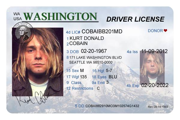 Washington Driver's License Editable PSD Template Download - $5.00 : ScrapPNG…