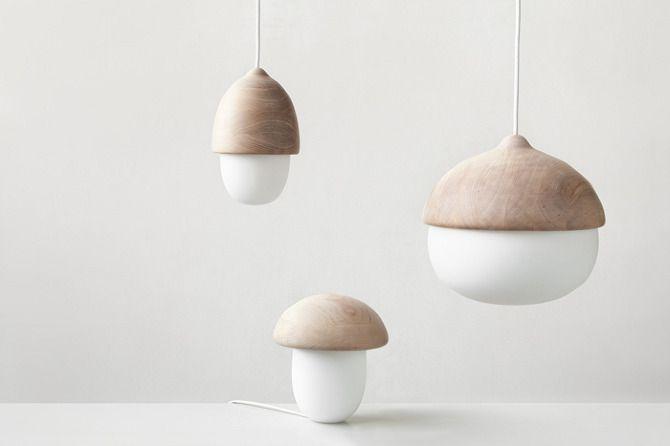 Terho & Tatti Lamps by Maija Puoskari #wood #acorn #mushroom #lamp