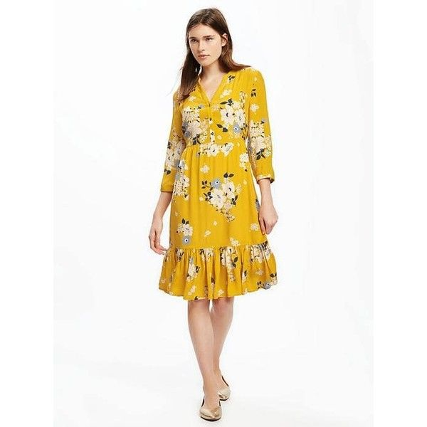 Old Navy Womens Printed Ruffle Hem Shirt Dress ($35) ❤ liked on Polyvore featuring dresses, petite, yellow, white ruffle dress, petite white dresses, yellow shirt dress, white dress and yellow dress