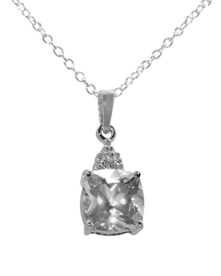 "Beautiful Diamond Pendant Necklace Genuine Diamond .003ct Genuine White Topaz 2.5ct 925 Sterling Silver 18"" Chain Pendant Rhodium Plated to help prevent tarnish Pendant 20mm high x 8mm wide 8-SSDN-TN7"