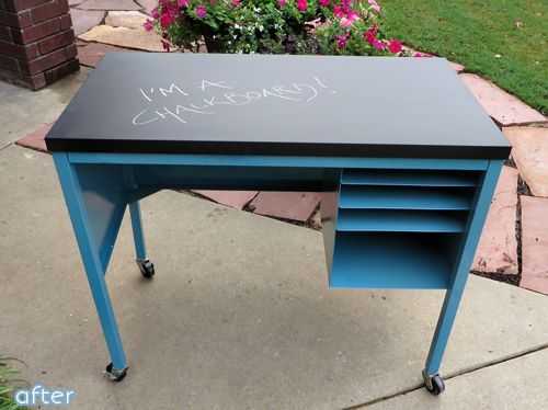 Deskapalooza Cry Metal Desk With Formica Topped Updated Paint And Chalkboard