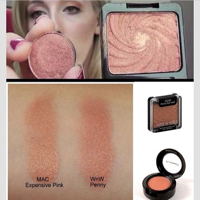 "WetnWild ""Penny"" ($2.00 at drugstores) is a perfect dupe for Mac ""Expensive Pink"" (11.00 at Mac)"