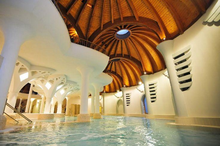 Majestic main pool of the Hagymatikum Bath in Makó, Hungary