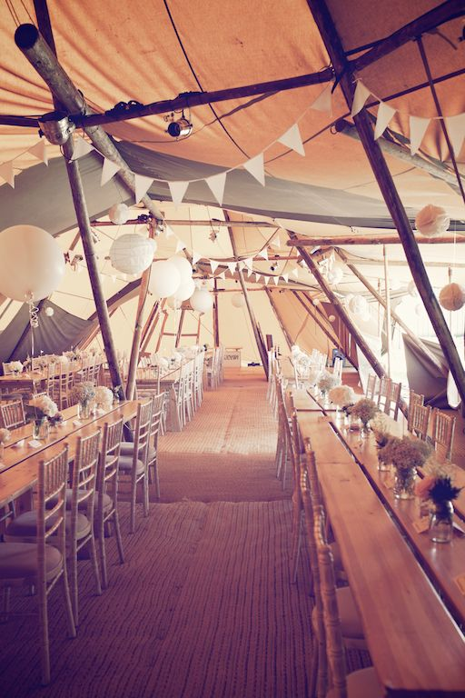Image by Weddings Vintage #wedding #tipi #reception #rustic #decor