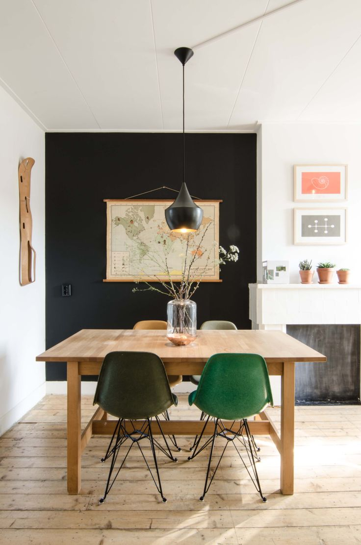 Beat Light by Tom Dixon: Decor, Dining Rooms, Black Walls, Interiors, Eames, Green Chairs, Black Accent Wall, Accent Walls, Dark Wall