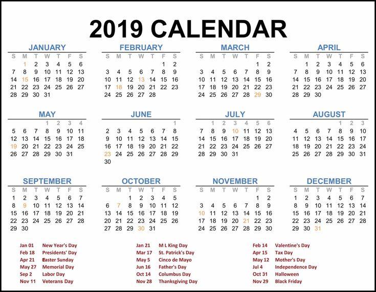 2019 Federal Holiday Calendar #calendar2019 # ...