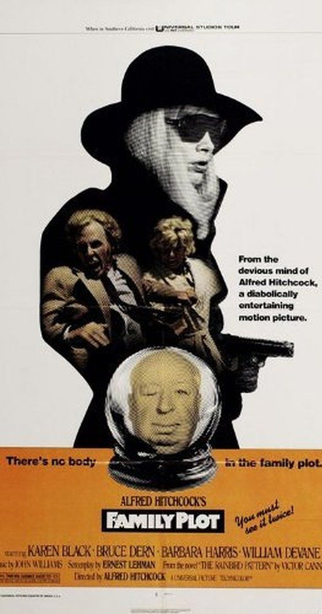 Directed by Alfred Hitchcock.  With Karen Black, Bruce Dern, Barbara Harris, William Devane. Lighthearted suspense film about a phony psychic/con artist and her taxi driver/private investigator boyfriend who encounter a pair of serial kidnappers while trailing a missing heir in California.