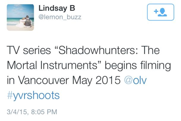 'Shadowhunters' set to begin production in Vancouver this May – And so it begins. Are you excited!!!