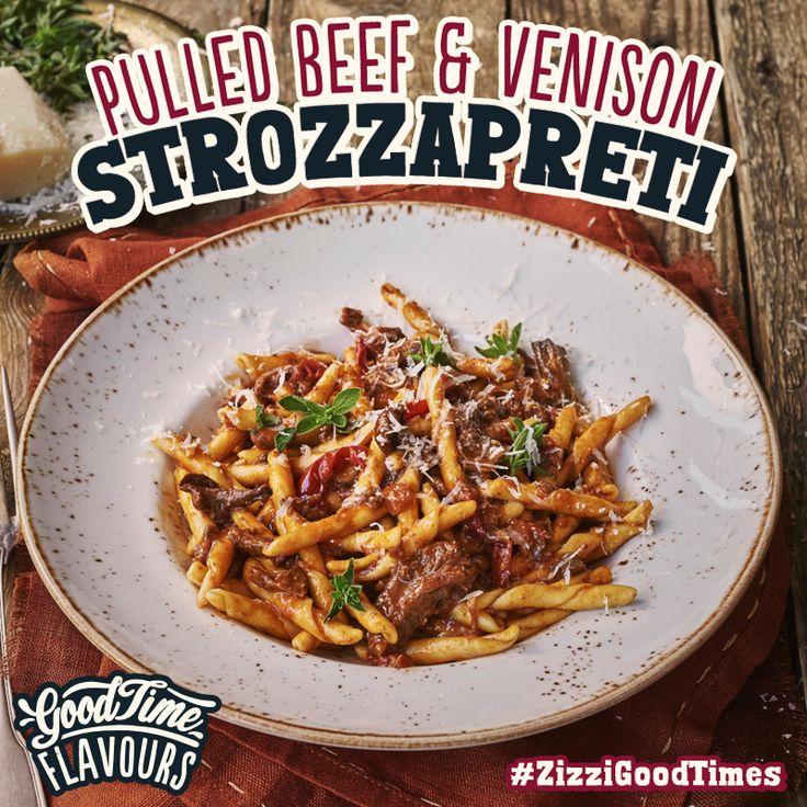 A rich beef brisket & venison ragu with red wine, garlic & tomatoes, strozzapreti pasta & Grana Padano. #ZizziGoodTimes